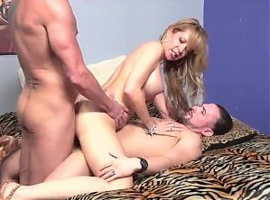 Sexy MILF Gets Two Hard Cocks From Husband and Stepson