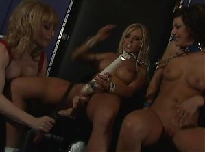 Mature blonde mistress in red spanks her young naughty girls