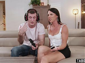 MILF mom Riley Jacobs interrupts her stepson playing a game