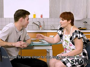 SHAME4K. Mature redhead agrees to get off with friend's son