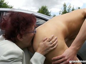80 years old granny licks young guy's asshole outdoors