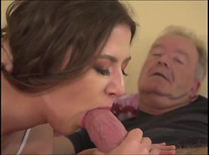 Young girl blowjob big grandpa cock