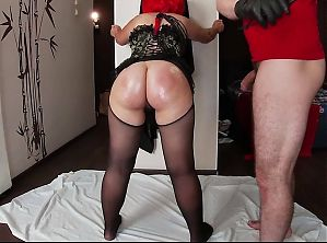 Mature milf and stepson have hot sex with whipping and anal