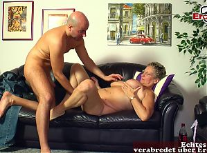 German mature housewife with short hair seduced younger guy