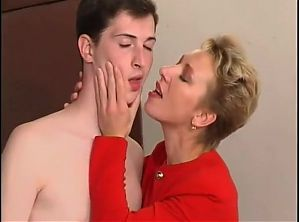 Busty mom Seduceding son while cleaning the car