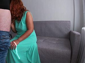 Sexy mom in dress loves to give blowjob to stepson