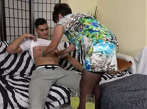 Mature hairy stepmom seduces lucky young boy