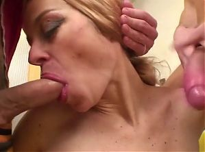 She loves her stepson's cocks in her hairy pussy and ass