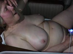 Mature with huge tits masturbates for her younger date